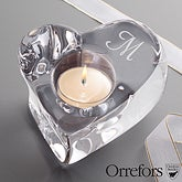 Engraved Monogram Crystal Heart Votive Candle Holder by Orrefors - 12302