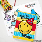 Personalized Kids Birthday Coloring Books - Smiley Face - 12349