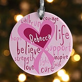 Personalized Christmas Ornaments - Breast Cancer Awareness Pink Ribbon - 12351