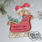 Personalized Christmas Ornaments - Precious Moments Sleigh Ride - 12355