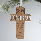 Personalized Christian Cross Ornaments - Bless This Child - 12370