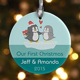 Personalized Christmas Ornaments - Penguin Couple - 12390
