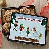 Personalized Holiday Cookie Tin - Ice Skating Family - 12391