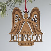 Family Angel Personalized Wood Ornament