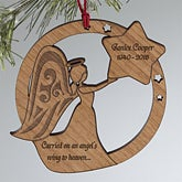 Personalized Memorial Christmas Ornaments - Wood Angel - 12424