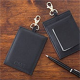 Personalized Leather Luggage Tags - Black - 12433