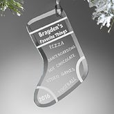 Personalized Christmas Ornaments - Favorite Things Christmas Stocking - 12442