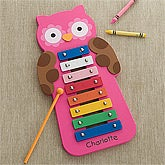 Personalized Kids Xylophone - Pink Owl - 12458