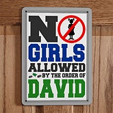 Personalized Boys Room Signs - No Girls Allowed - 12471