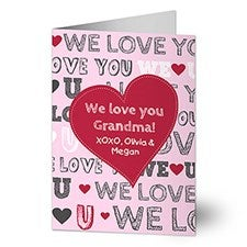 Personalized Heart Greeting Cards - All About Love - 12535
