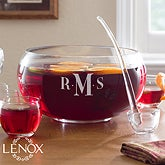 Personalized Punch Bowl Set - Engraved Monogram - 12545
