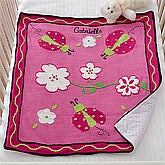 Personalized Blankets for Baby Girls - Lady Bugs & Flowers - 12588
