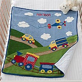 Personalized Blankets for Baby Boys - Cars, Trucks, Trains & Planes - 12589