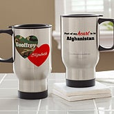 Personalized Military Travel Mugs - Hearts & Camo - 12611