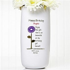Personalized Birthday Flower Vase - Birthday Blooms - 12628