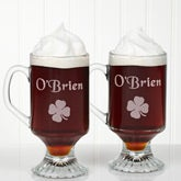 Personalized Glass Irish Coffee Mug Set - Four Leaf Clover - 1268