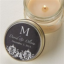 Personalized Candle Tin Favors - Damask Monogram - 12689