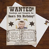 Personalized Cowboy Birthday Invitations - Wanted - 12766