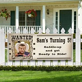 Personalized Photo Birthday Banner - Wanted Cowboy - 12822