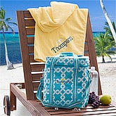 Personalized Beach Cooler & Towels - Nautical Link - 12893