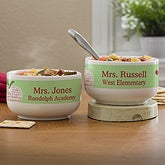 Personalized Teachers Soup Bowls - Apple Scroll - 12927
