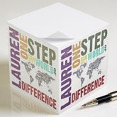 Personalized World Map Note Cube - Make A Difference - 12957