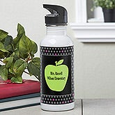 Personalized Teachers Water Bottle - Green Apple - 12976
