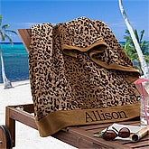 Personalized Beach Towels - Cheetah Print - 12984