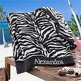 Personalized Beach Towels - Zebra Print - 12985