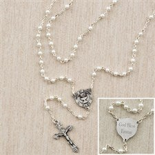 Personalized First Communion Rosary for Girls - Pearl - 12989