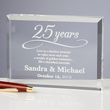 Personalized Anniversary Glass Keepsake Gift - 13025