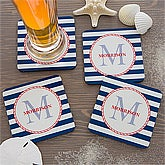 Personalized Coaster Set - Nautical Anchors Aweigh - 13051
