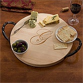 Personalized Round Serving Tray - Maple - 13079D
