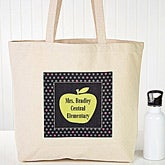Personalized Teacher's Tote Bags - Green Apple - 13095