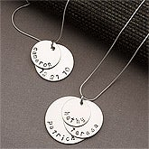 Personalized Silver Stacking Disc Necklace for Mothers - 13100D