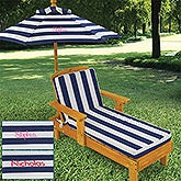 Personalized Striped Outdoor Chaise with Umbrella - 13186D