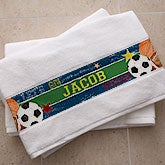 Personalized Boys Bath Towel - Sports - 13293
