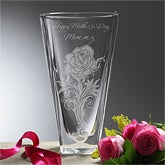 Personalized Memorial Crystal Vase - Etched Rose - 13301
