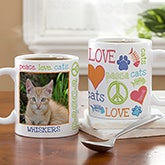 Personalized Pet Coffee Mugs - Peace, Love, Cats - 13395