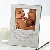 Personalized Engraved Silver Picture Frame for Godparents - 13428