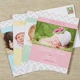 Personalized Photo Baby Announcements - Chevron - 13432