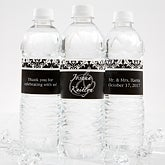 Personalized Wedding Water Bottle Labels - Damask Wedding - 13609