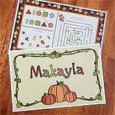 Personalized Kids Activity Placemat - Fun For Fall - 13637