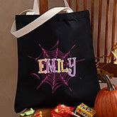 Personalized Halloween Treat Bags - Spider Webs - 13669