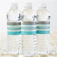 Personalized Water Bottle Labels - Baby Shower Chevron - 13670