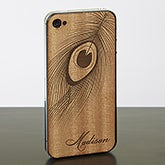 Personalized Wood Cell Phone Skins - iPhone 4 - Peacock Feather - 13719
