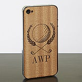 Personalized iPhone 4 Wood Cell Phone Skin - Golf Crest - 13734