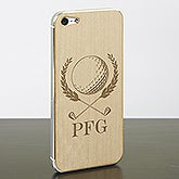Personalized Wood iPhone 5 Cell Phone Skin - Golf Crest - 13743