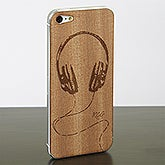 Personalized iPhone 5 Wood Cell Phone Skin - Headphones - 13744