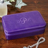 Personalized Leather Jewelry Case - Plum - 13746